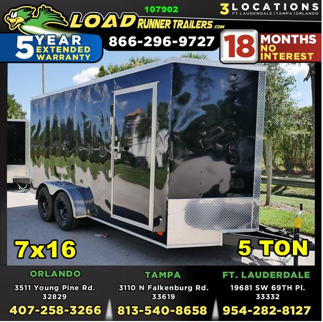 *107902* 7x16 7' Interior Ht Enclosed Cargo Trailer | Tandem Axle Trailers 7 x 16 | EV7-16T5-R