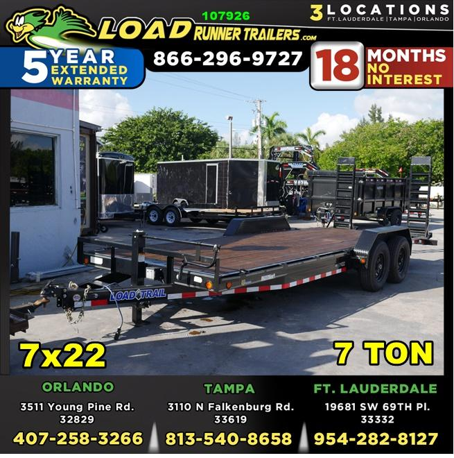 *107926* 7x22 Equipment Trailer w/Stand Up Kicker Ramps |Tandem Axle Trailers 7 x 22