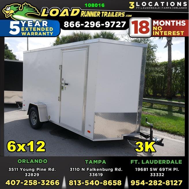 *108016* 6x12 Enclosed Cargo Trailer |TEXTURED SCRATCH RESISTANT EXTERIOR 6 x 12