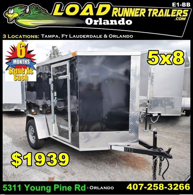 *E1-BB* 5x8 Enclosed  Trailer Cargo Trailers 5 x 8 | EV5-8S3-R