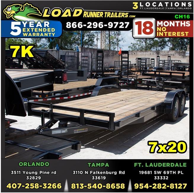 *CH16* 7x20 7K Car Haulers & Trailers LR Trailer & Hauler w/brakes 7 x 20   CH82-20T3-1B