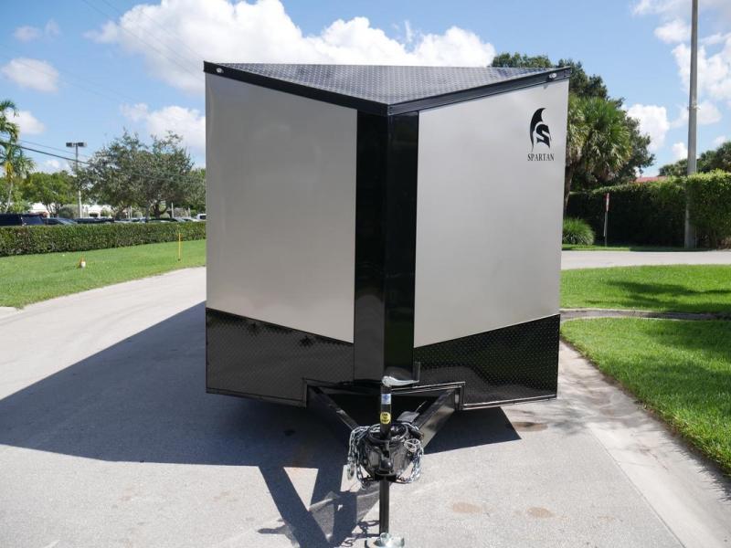 *107997* 8.5x24 Enclosed Cargo Trailer w/Slanted V |Beige Blackout Pkg 8.5 x 24