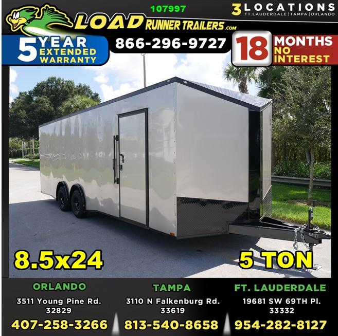 *107997* 8.5x24 Enclosed Cargo Trailer w/Slanted V |Beige Blackout Pkg 8.5 x 24