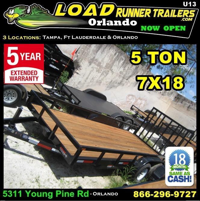 *U13* 7x18 5 TON Utility Trailer w/ Dove Tail 7 x 18 | U84-18T5-2B-TR