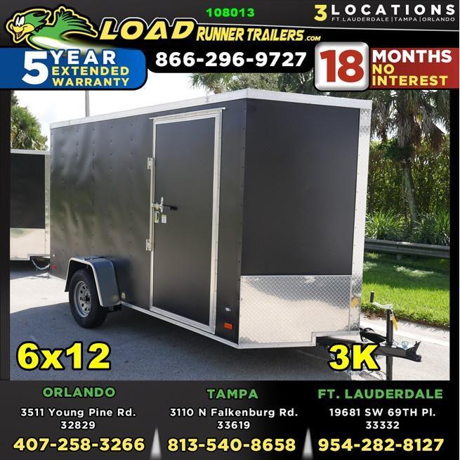 *E4K* 6x12  Enclosed Cargo Trailer LR Camping Trailers 6 x 12   EV6-12S3-R