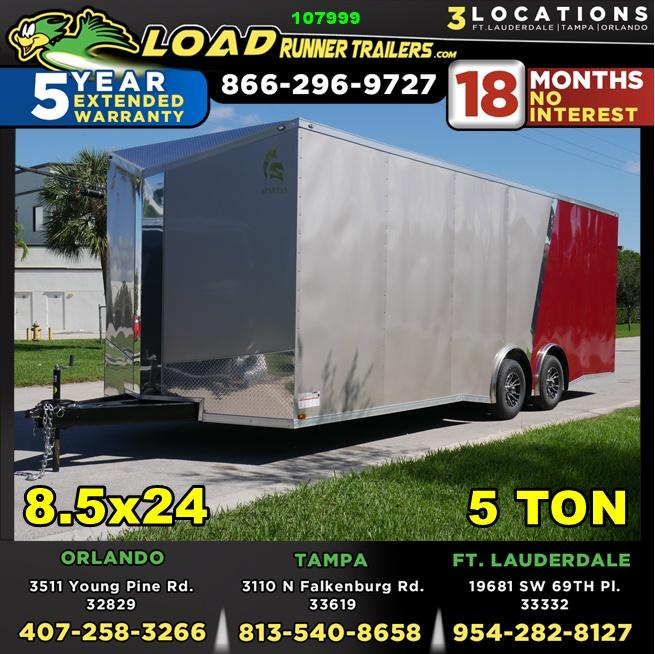 *107999* 8.5x24 Enclosed Cargo Trailer w/Slanted V Nose Brandywine & Beige W/Mags 8.5 x 24 | EV8.5-24T5TS-R