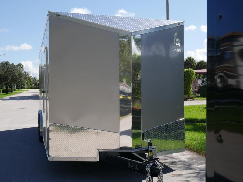 *107999* 8.5x24 Enclosed Cargo Trailer w/Slanted V Nose Brandywine & Beige W/Mags 8.5 x 24