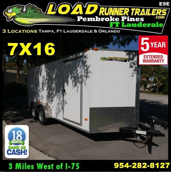 *E9E* 7x16 Enclosed Cargo Trailer Tandem Axle Hauler 7 x 16 | EV7-16T3-R