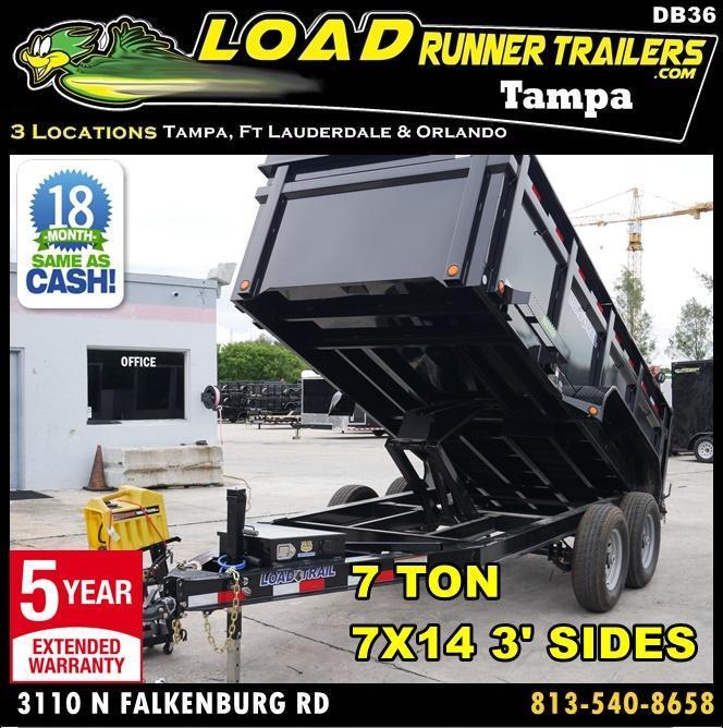 *DB36* 7x14 7 TON Dump Trailer W/3Ft Sides |Dumps & Trailers 7 x 14 | D83-14T7-36S