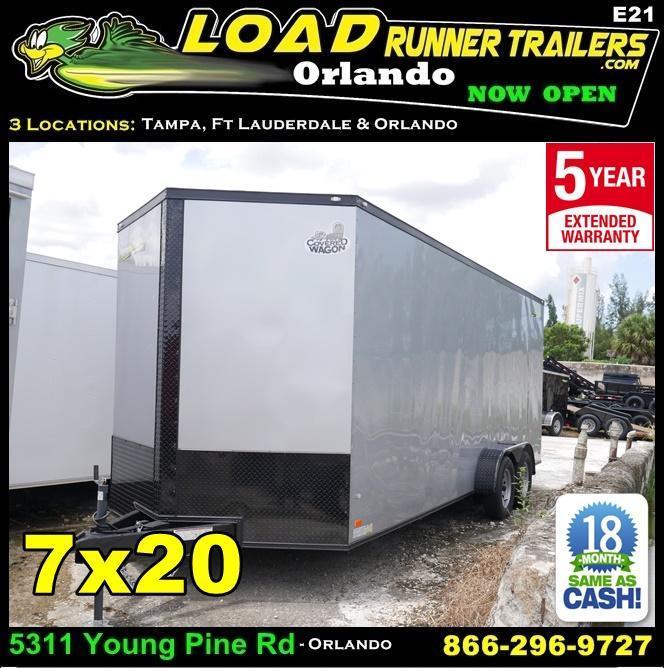 *E21* 7x20 Enclosed Cargo Trailer Tandem Axle Box 7 x 20 | EV7-20T3-R