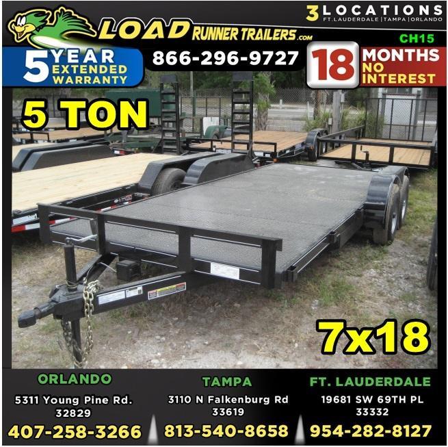 *CH15* 7x18 5 Ton Car Hauler Trailer LR Trailers w/Brakes 7 x 18   CH82-18T5-1B-SD