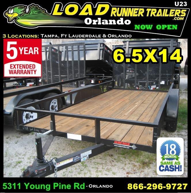 *U23* 6.5x14 Utility Trailer Tandem 3500# Axles 6.5 x 14 | U78-14T3-0B-AR