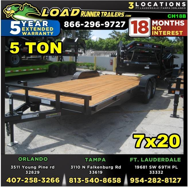 *CH18B* 7x20 5 TON Car Trailer w/Brakes |LR Haulers & Trailers 7 x 20 | CH82-20T5-2B