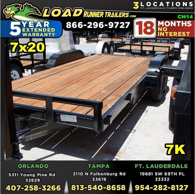 *CH14* 7x20 Car Hauler Trailer w/Brakes  5 TON Trailers 7 x 20   CH82-20T3-1B