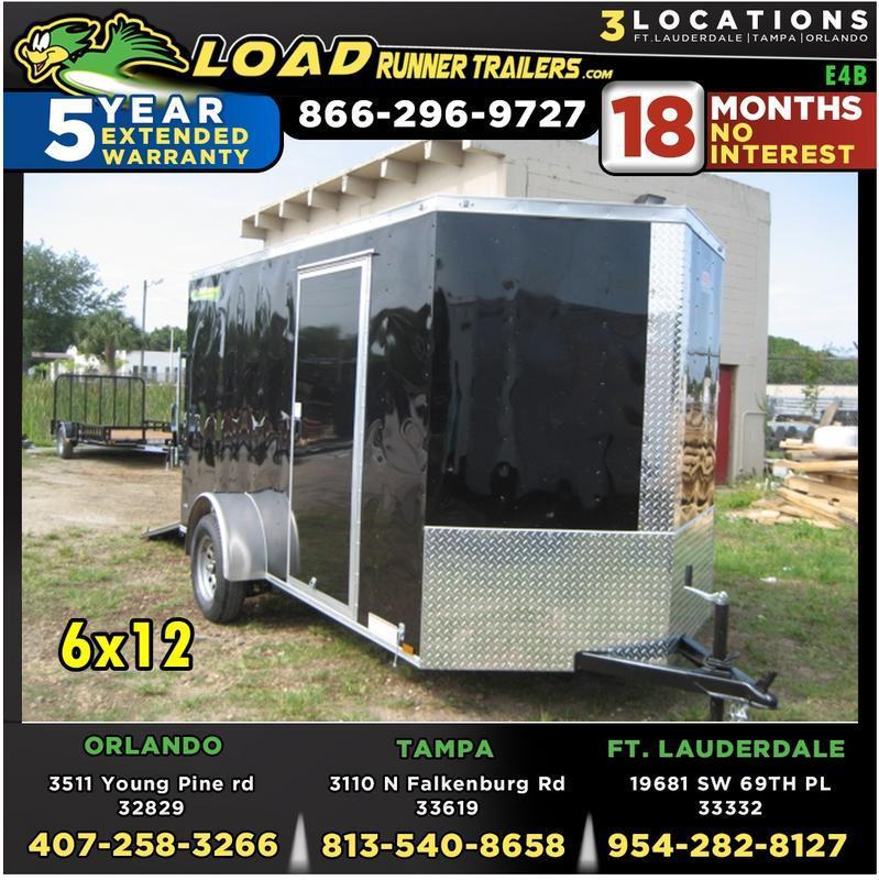 *E4B* 6x12 Cargo Enclosed Trailer Single Axle Trailers 6 x 12   EV6-12S3-R