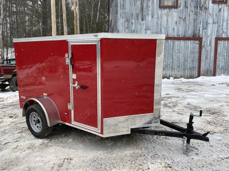 2020 Freedom Trailers 5X8 RED DOUBLE DOORS/SIDE DOOR Enclosed Cargo Trailer