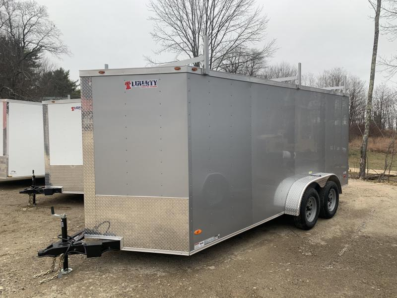2020 Freedom Trailers 7x16 DOUBLE DOORS LADDER RACKS Enclosed Cargo Trailer
