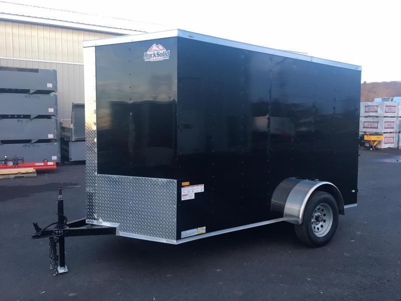 ROCK SOLID 2020 6' x 12' BLACK SINGLE AXLE SEMI-SCREWLESS V-NOSE ENCLOSED TRAILER