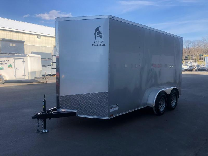 SPARTAN CARGO 2020 7X12 TANDEM AXLE SILVER SEMI SCREWLESS ENCLOSED TRAILER