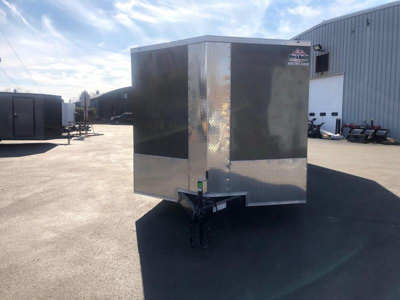 ROCK SOLID 2020 8.5' x 24' TANDEM AXLE CHARCOAL V-NOSE SEMI SCREWLESS W/ TRIPLE TUBE TONGUE AND 54 X 48 ESCAPE DOOR ENCLOSED CARGO TRAILER / CAR HAULER