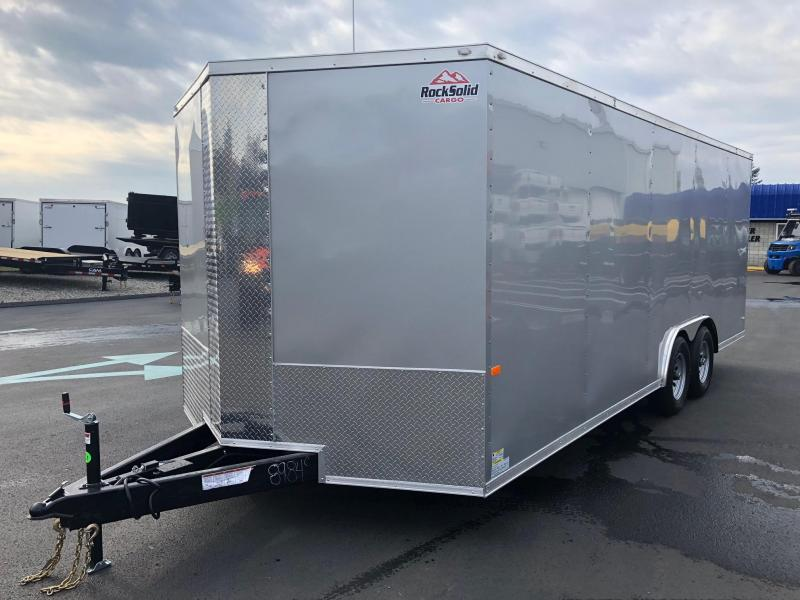 ROCK SOLID 2020 8.5' x 20' SILVER TANDEM AXLE SEMI SCREWLESS TRIPE TUBE TONGUE EXTENDED ENCLOSED CARGO TRAILER / CAR HAULER