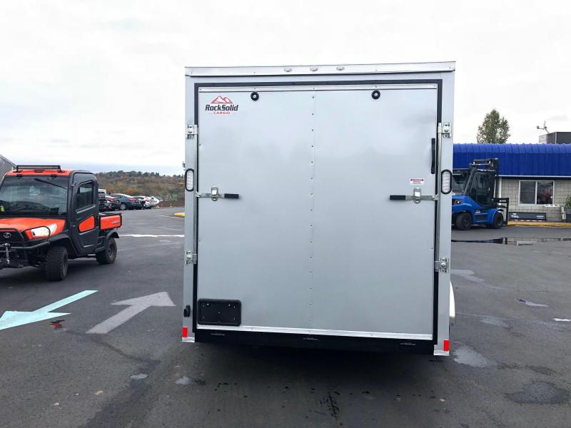 "ROCK SOLID 2020 7' x 14 WITH 12"" ADDITIONAL HEGHTSILVER SEMI-SCREWLESS TANDEM AXLE V-NOSE ENCLOSED TRAILER"