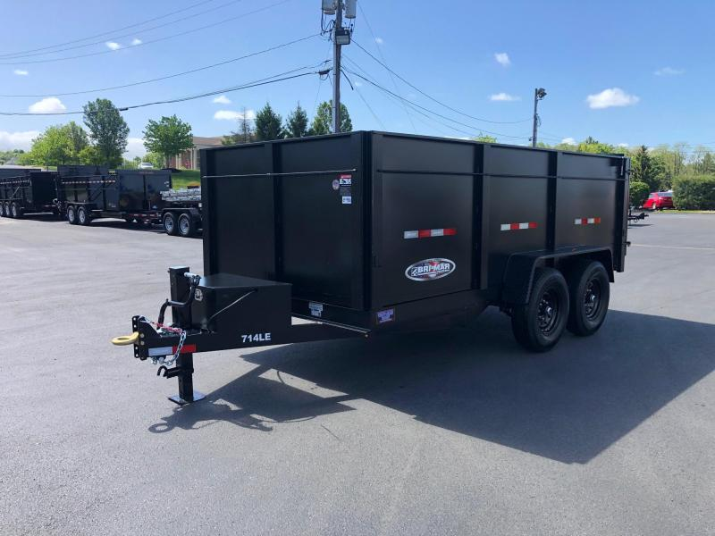 BRI-MAR 2020 7' X 14'  HAMMERTONE MATTE BLACK LOW PROFILE DUMP TRAILER WITH HIGH SIDES