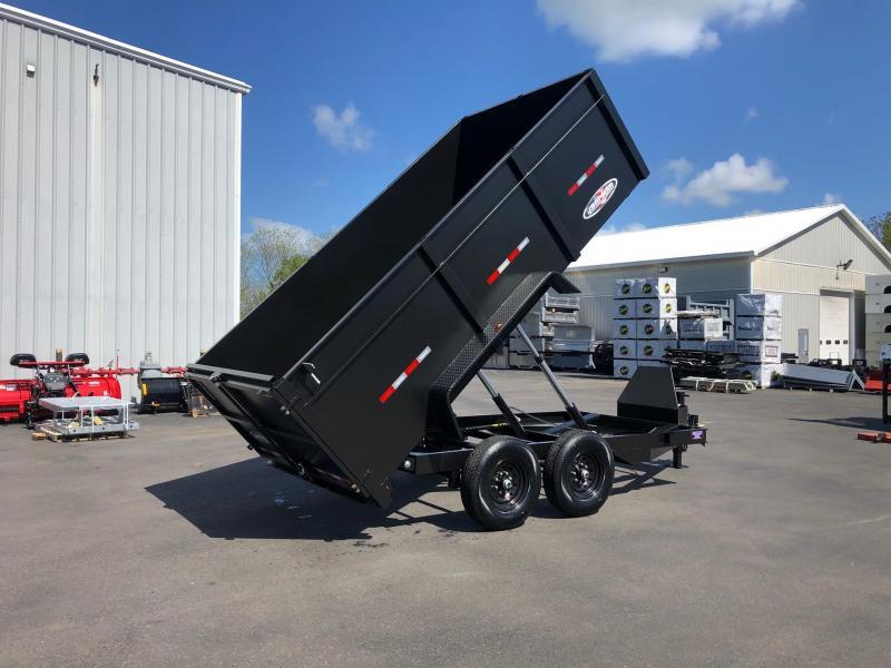 BRI-MAR 2020 7' X 14'  HAMMERTONE MATTE BLACK LOW PROFILE DUMP TRAILER WITH HIGH SIDES