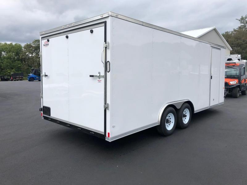 ROCK SOLID 2020 8.5 x 20 Tandem Axle White Semi Screwless Car Hauler Cargo / Enclosed V-NOSE Trailer w/ Triple Tube Extended Tongue and Escape Door