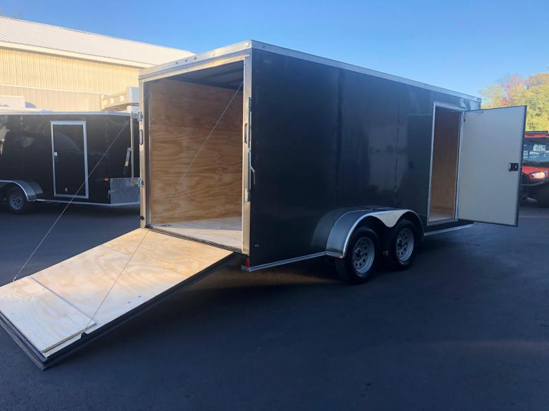 ROCK SOLID 2020 7' x 16' CHARCOAL GRAY TANDEM AXLE SEMI SCREWLESS WITH EXTENDED TRIPE TUBED TONGUE  V-NOSE ENCLOSED TRAILER