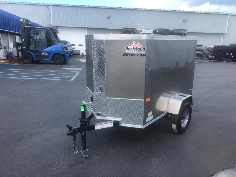 ROCK SOLID 2020 5' x 8' SINGLE AXLE PEWTER W/ ADDITIONAL HEIGHT  ENCLOSED TRAILER