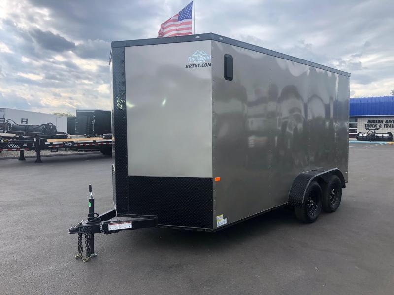 ROCK SOLID 2020 7' x 14' TANDEM AXLE PEWTER WITH BLACKOUT PKG AND ADDITIONAL HEIGHT V-NOSE ENCLOSED TRAILER
