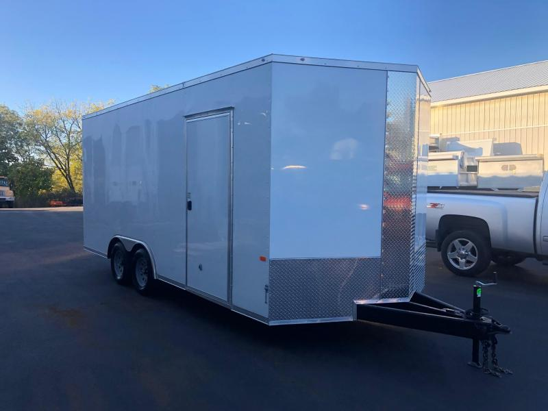 ROCK SOLID 2020 8.5' x 18' CH TANDEM AXLE WHITE SEMI SCREWLESS  WITH ADDITIONAL HEIGHT AND TRIPLE TUBED TONGUE EXTENDED V-NOSE CAR HAULER/  CARGO TRAILER