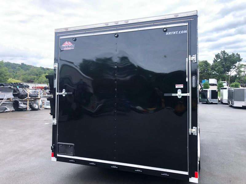 ROCK SOLID 2020 8.5' x 16' CH TANDEM AXLE BLACK V-NOSE ENCLOSED CARGO TRAILER W/ ADDITIONAL HEIGHT