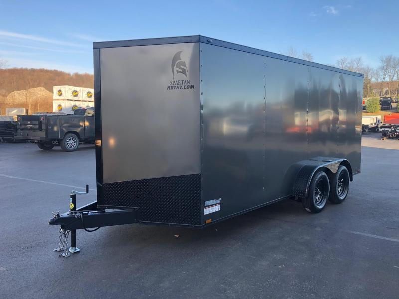 SPARTAN CARGO 2020 7X16 TANDEM AXLE CHARCOAL W/ BLACKOUT SEMI SCREWLESS ENCLOSED TRAILER