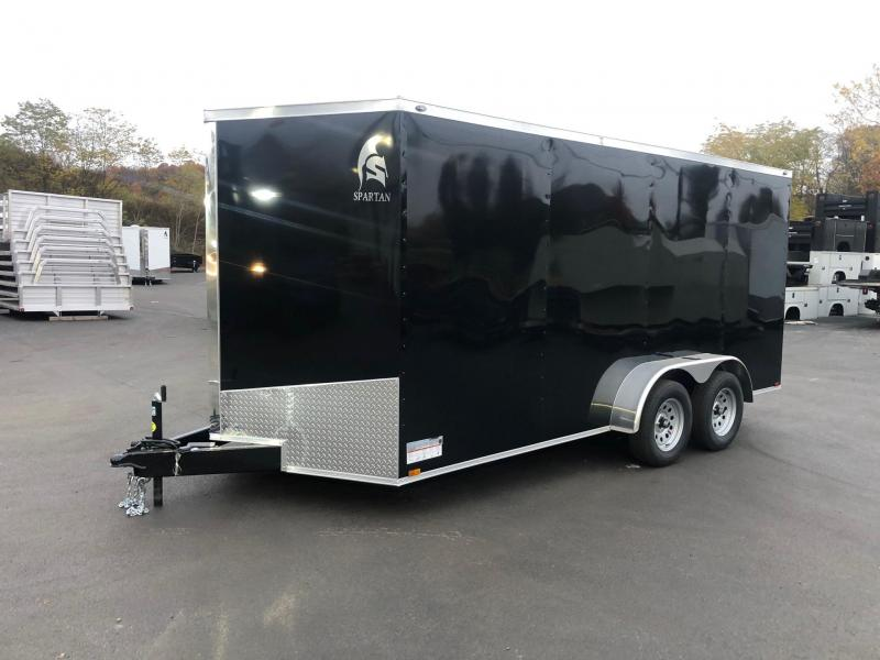 SPARTAN CARGO 2020 7X16 TANDEM AXLE BLACK SEMI SCREWLESS ENCLOSED TRAILER
