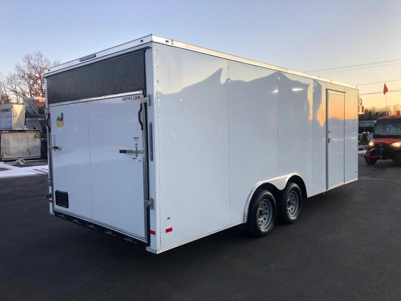 """COVERED WAGON 2020 8.5 X 20 WHITE SEMI-SCREWLESS 60"""" TRIPLE TUBE TONGUE WITH KNIFE EDGE REAR DOOR  ENCLOSED CARGO TRAILER"""