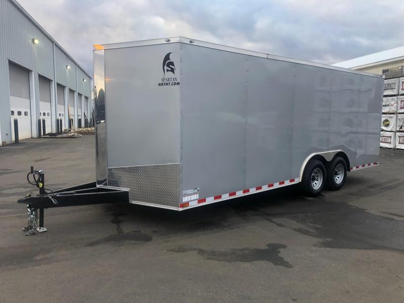 SPARTAN CARGO 2020 8.5 X 20 TANDEM AXLE SILVER  SEMI SCREWLESS W/ TRIPLE TUBED TONGUE ENCLOSED TRAILER