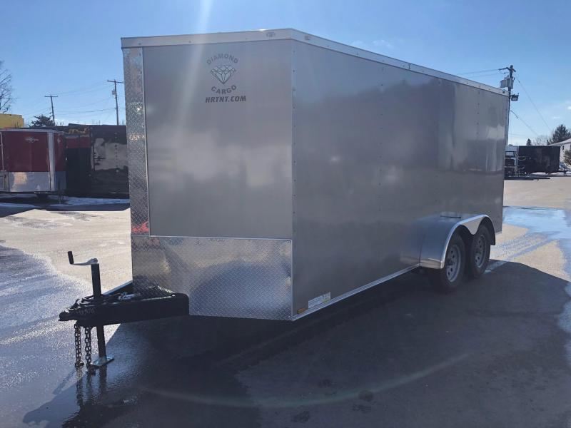 DIAMOND CARGO 2019 7' x 16' PEWTER TANDEM AXLE  V-NOSE CARGO/ENCLOSED TRAILER
