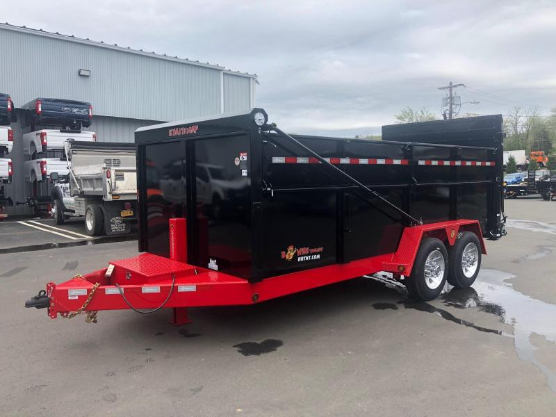 BWISE 2019 7' x 16' BLACK WITH RED TRIM ULTIMATE DUMP LOW PROFILE TRAILER