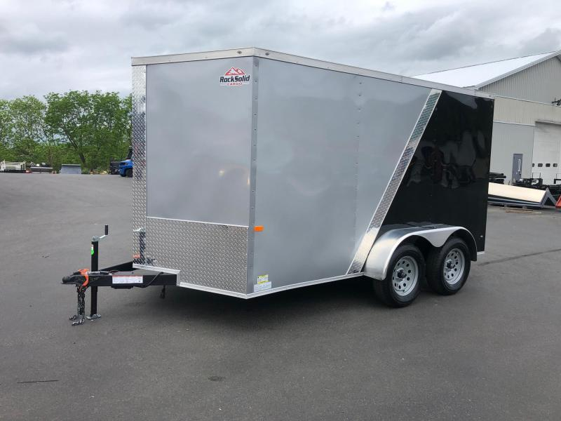 ROCK SOLID 2020 7' x 12'  SILVER FRONT WITH BLACK BACK  SEMI-SCREWLESS TANDEM AXLE V-NOSE ENCLOSED TRAILER
