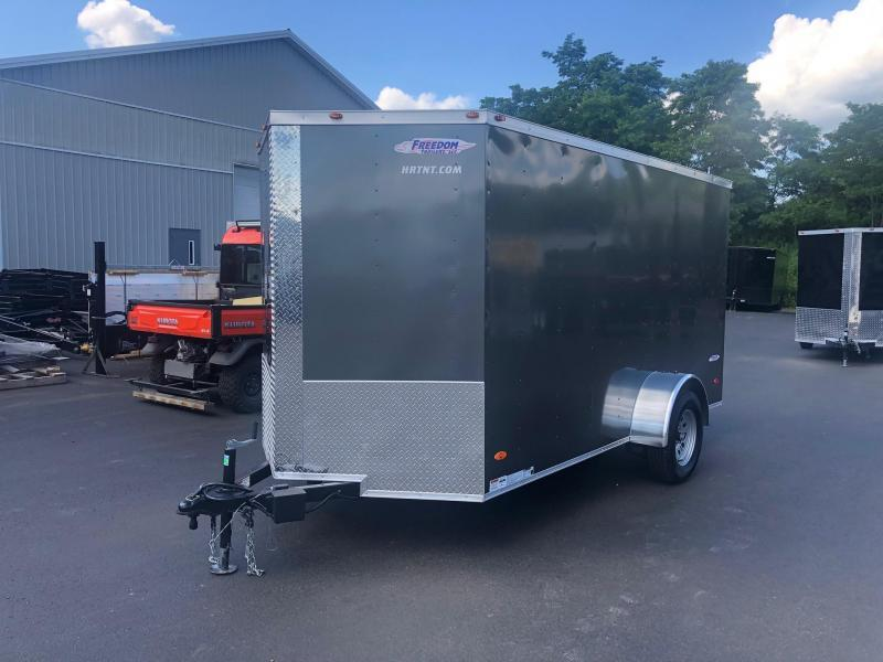 FREEDOM 2020  6X12 SINGLE AXLE CHARCOAL CARGO/ENCLOSED TRAILER