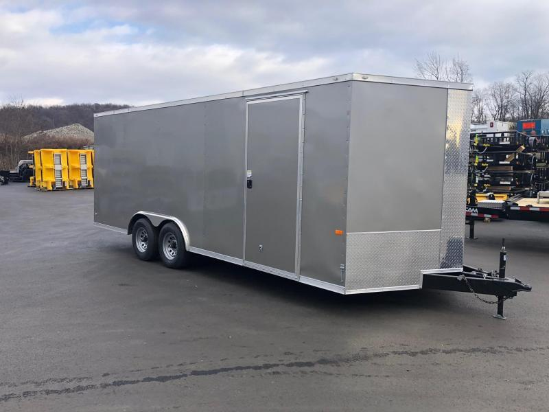 ROCK SOLID 2020 8.5 x 20 Tandem Axle Pewter Semi Screwless Enclosed V-NOSE Trailer with 54x48 Escape Door CAR HAULER