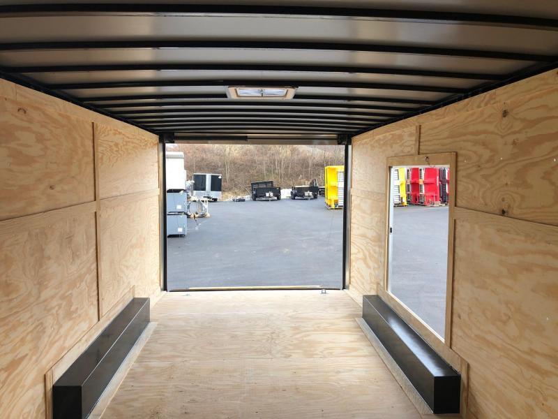 ROCK SOLID 2020 8.5 x 20 Tandem Axle Pewter Semi Screwless Enclosed V-NOSE Trailer with 54x48 Escape Door CAR HAULER