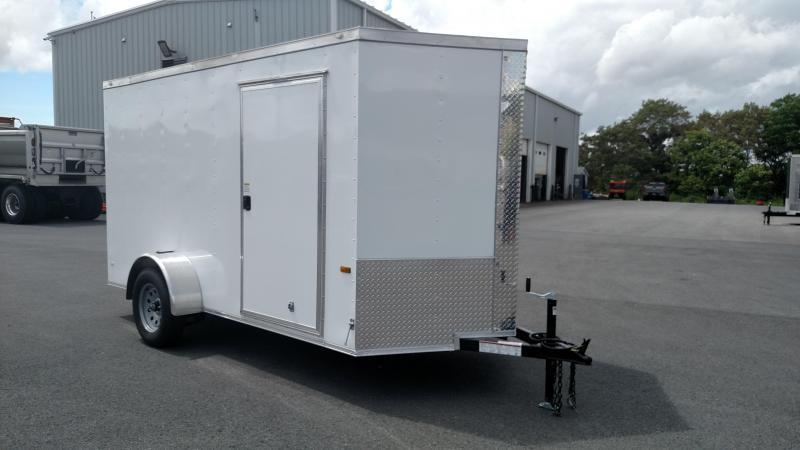 ROCK SOLID 2020 6' x 12' WHITE SINGLE AXLE V-NOSE ENCLOSED TRAILER