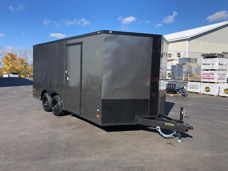 COVERED WAGON 2020 SEMI-SCREWLESS  8.5' x 16' TA CHARCOAL WITH BLACKOUT  ENCLOSED CARGO TRAILER