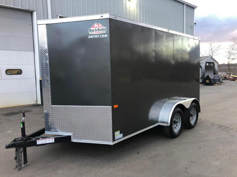 ROCK SOLID 2020 7' x 12' TANDEM AXLE CHARCOAL  SEMI-SCREWLESS V-NOSE ENCLOSED TRAILER