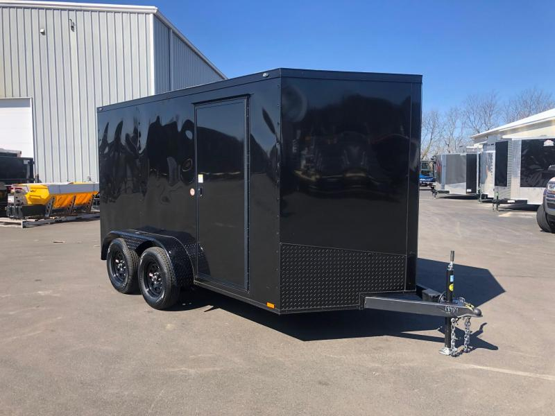 SPARTAN CARGO 2020 7X12 TANDEM AXLE BLACK WITH BLACK TRIM SEMI SCREWLESS ENCLOSED TRAILER