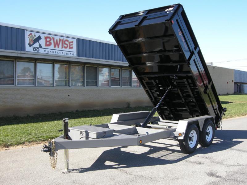 BWISE 2019 7' x 12' BLACK DUMP TRAILER (DLP12W-10) * TARP INCLUDED*