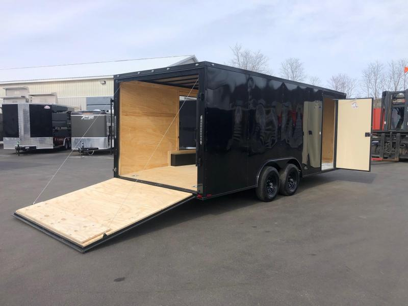 SPARTAN CARGO 2020 8.5 X 20 TANDEM AXLE  BLACK W/ BLKOUT SEMI SCREWLESS W/ TRIPLE TUBED TONGUE AND SIDE ACCESS DOOR  ENCLOSED TRAILER